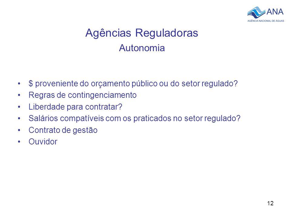12 Agências Reguladoras Autonomia $ proveniente do orçamento público ou do setor regulado? Regras de contingenciamento Liberdade para contratar? Salár
