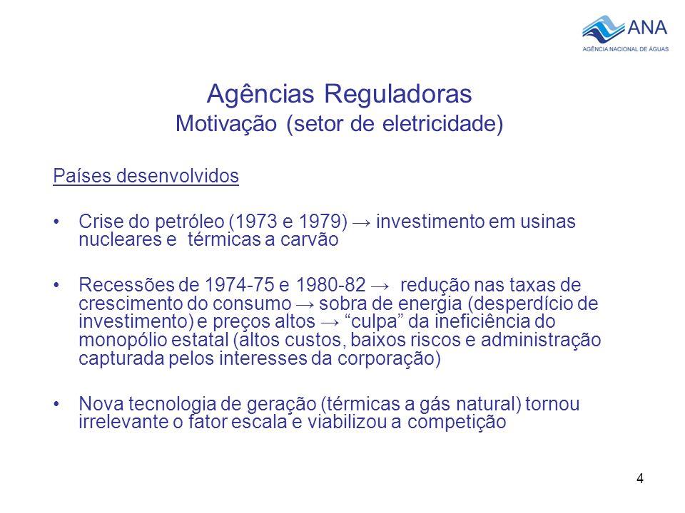 4 Agências Reguladoras Motivação (setor de eletricidade) Países desenvolvidos Crise do petróleo (1973 e 1979) investimento em usinas nucleares e térmi