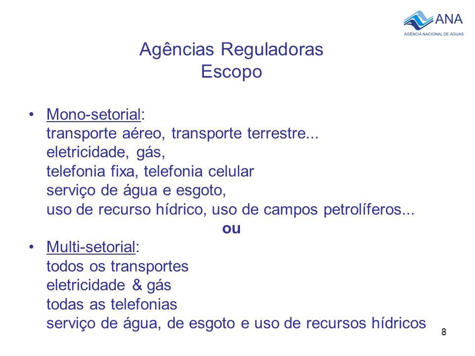 8 Agências Reguladoras Escopo Mono-setorial: transporte aéreo, transporte terrestre... eletricidade, gás, telefonia fixa, telefonia celular serviço de