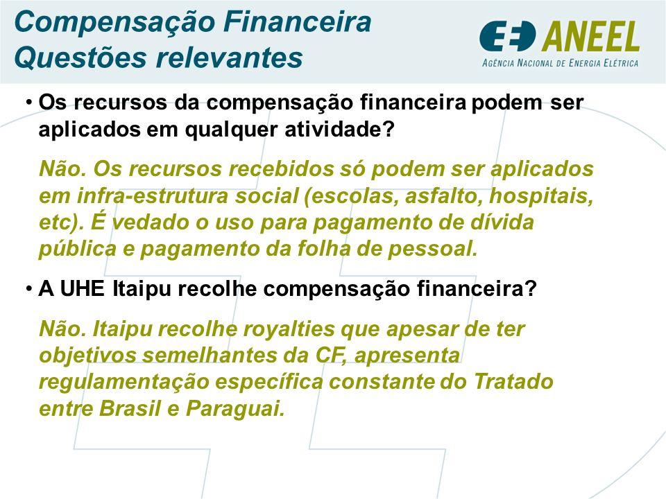 Os recursos da compensação financeira podem ser aplicados em qualquer atividade.