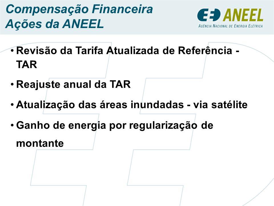 Compensação Financeira Ações da ANEEL Revisão da Tarifa Atualizada de Referência - TAR Reajuste anual da TAR Atualização das áreas inundadas - via satélite Ganho de energia por regularização de montante