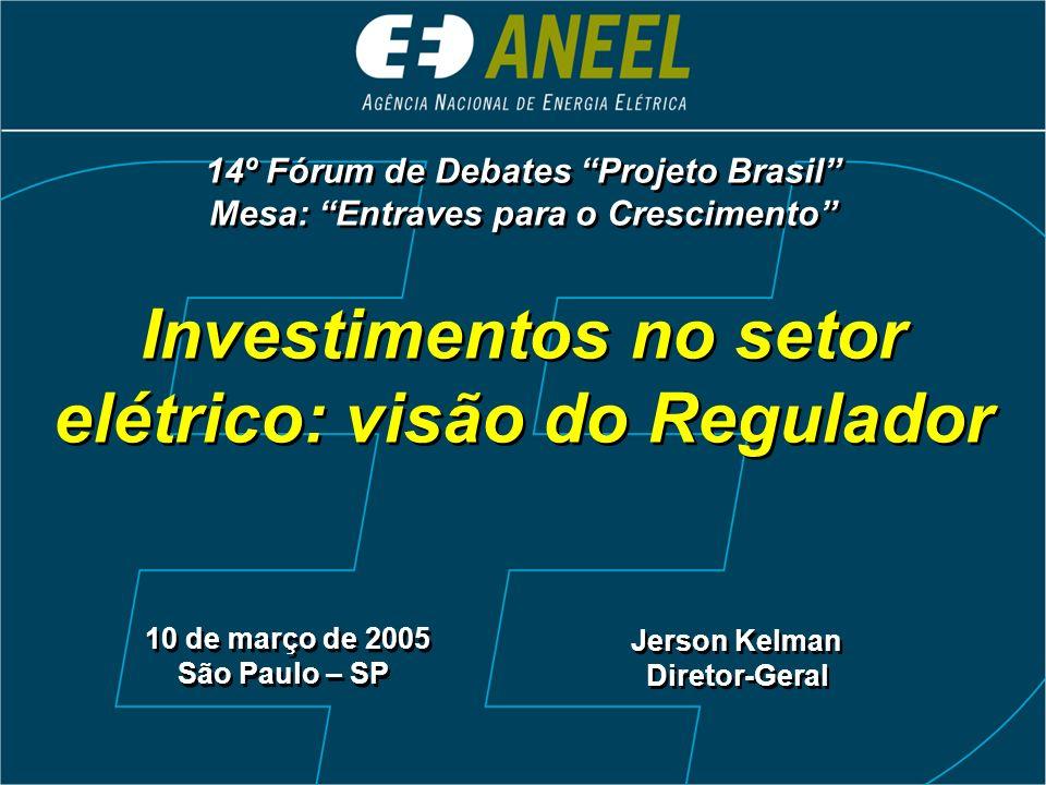 Investimentos no setor elétrico: visão do Regulador 10 de março de 2005 São Paulo – SP 10 de março de 2005 São Paulo – SP Jerson Kelman Diretor-Geral