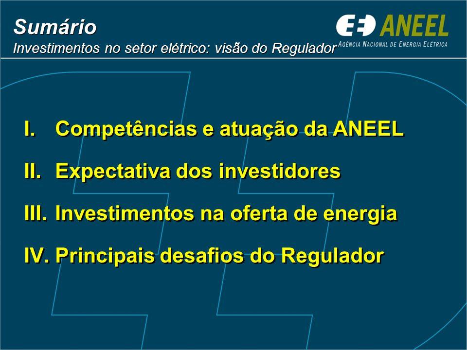 Sumário Investimentos no setor elétrico: visão do Regulador Sumário Investimentos no setor elétrico: visão do Regulador I.Competências e atuação da AN