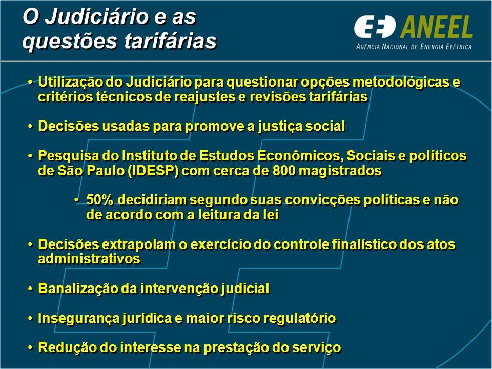 O Judiciário e as questões tarifárias O Judiciário e as questões tarifárias Utilização do Judiciário para questionar opções metodológicas e critérios técnicos de reajustes e revisões tarifárias Decisões usadas para promove a justiça social Pesquisa do Instituto de Estudos Econômicos, Sociais e políticos de São Paulo (IDESP) com cerca de 800 magistrados 50% decidiriam segundo suas convicções políticas e não de acordo com a leitura da lei Decisões extrapolam o exercício do controle finalístico dos atos administrativos Banalização da intervenção judicial Insegurança jurídica e maior risco regulatório Redução do interesse na prestação do serviço Utilização do Judiciário para questionar opções metodológicas e critérios técnicos de reajustes e revisões tarifárias Decisões usadas para promove a justiça social Pesquisa do Instituto de Estudos Econômicos, Sociais e políticos de São Paulo (IDESP) com cerca de 800 magistrados 50% decidiriam segundo suas convicções políticas e não de acordo com a leitura da lei Decisões extrapolam o exercício do controle finalístico dos atos administrativos Banalização da intervenção judicial Insegurança jurídica e maior risco regulatório Redução do interesse na prestação do serviço