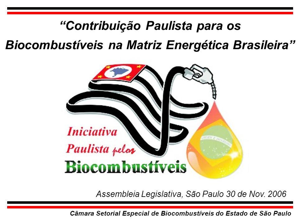 Câmara Setorial Especial de Biocombustíveis do Estado de São Paulo Contribuição Paulista para os Biocombustíveis na Matriz Energética Brasileira Assem