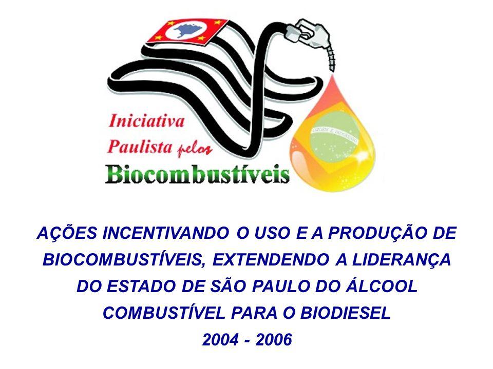 AÇÕES INCENTIVANDO O USO E A PRODUÇÃO DE BIOCOMBUSTÍVEIS, EXTENDENDO A LIDERANÇA DO ESTADO DE SÃO PAULO DO ÁLCOOL COMBUSTÍVEL PARA O BIODIESEL 2004 -
