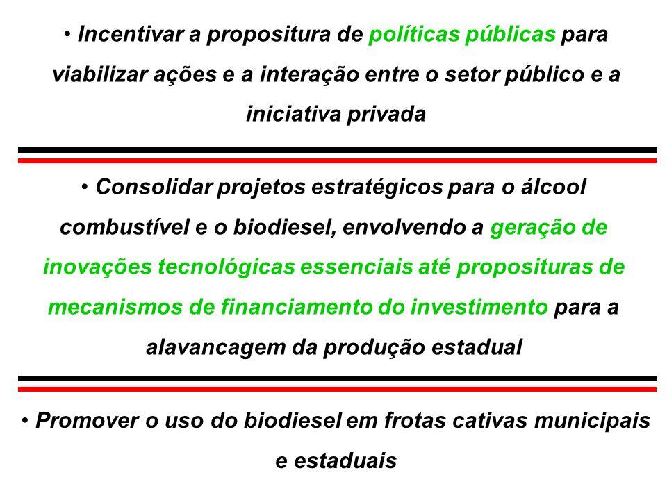 Incentivar a propositura de políticas públicas para viabilizar ações e a interação entre o setor público e a iniciativa privada Consolidar projetos es