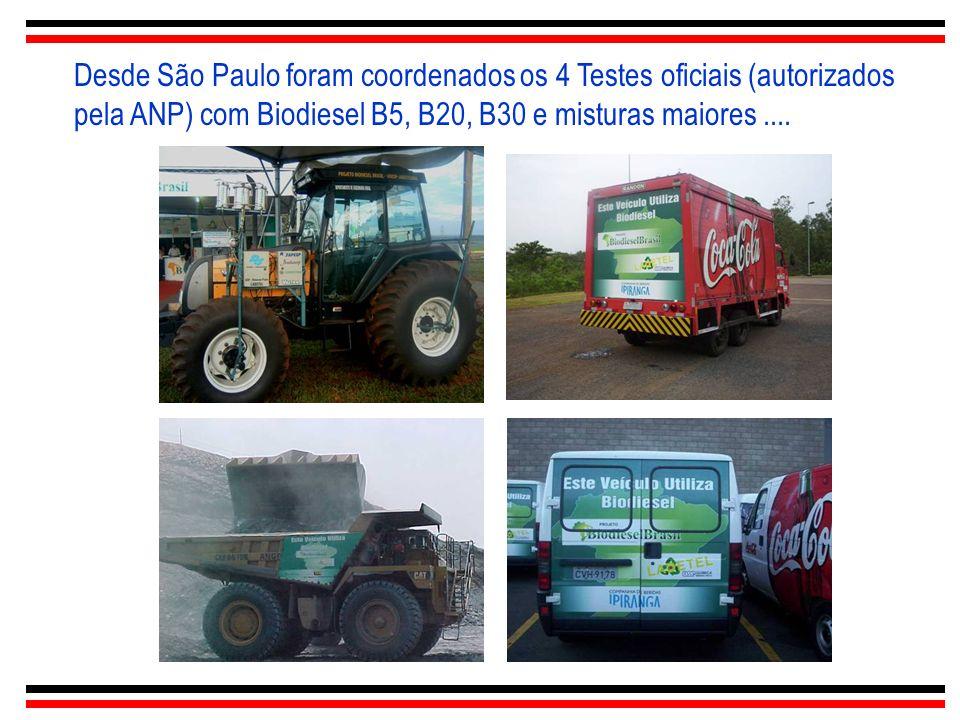 Desde São Paulo foram coordenados os 4 Testes oficiais (autorizados pela ANP) com Biodiesel B5, B20, B30 e misturas maiores....