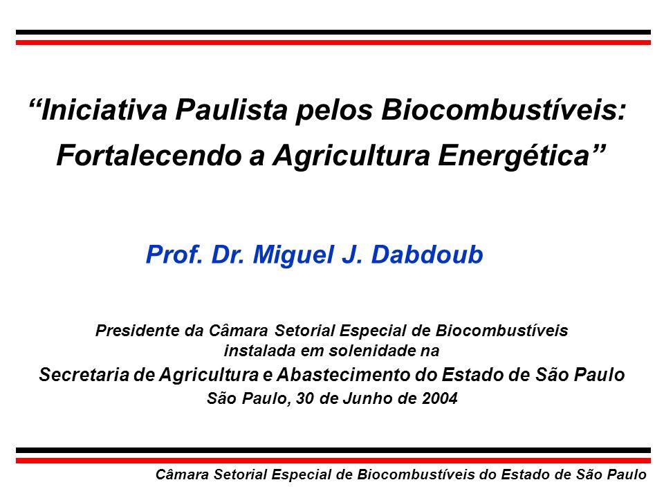 Câmara Setorial Especial de Biocombustíveis do Estado de São Paulo Iniciativa Paulista pelos Biocombustíveis: Fortalecendo a Agricultura Energética Pr
