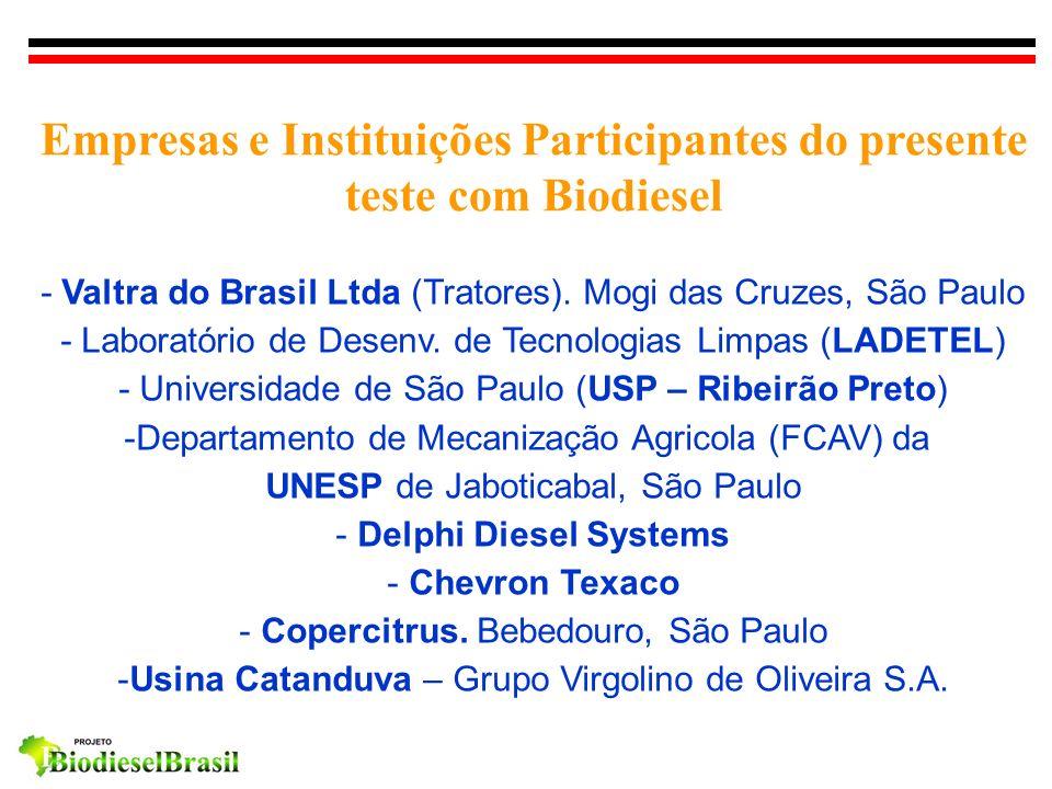 Empresas e Instituições Participantes do presente teste com Biodiesel - Valtra do Brasil Ltda (Tratores). Mogi das Cruzes, São Paulo - Laboratório de