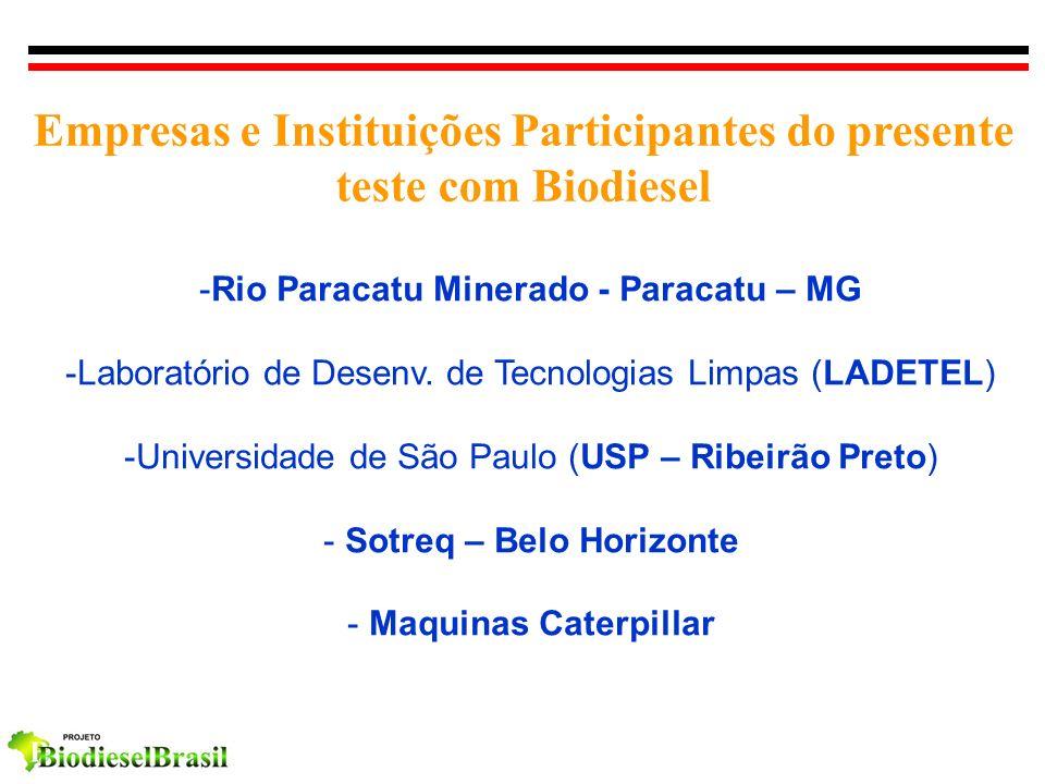 Empresas e Instituições Participantes do presente teste com Biodiesel -Rio Paracatu Minerado - Paracatu – MG -Laboratório de Desenv. de Tecnologias Li