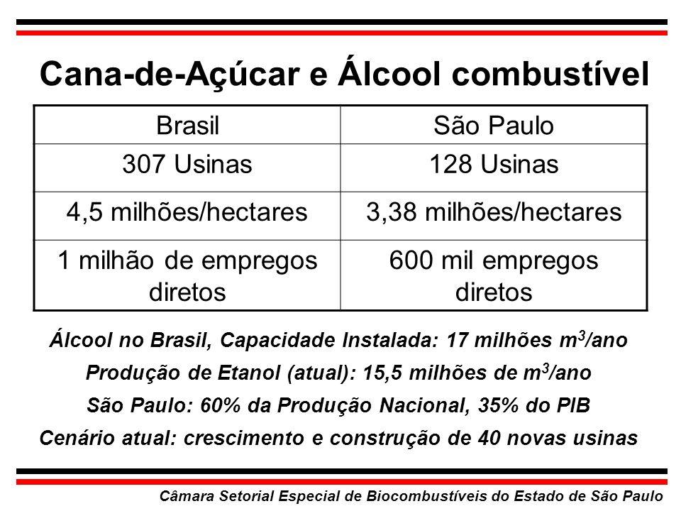 Cana-de-Açúcar e Álcool combustível Câmara Setorial Especial de Biocombustíveis do Estado de São Paulo BrasilSão Paulo 307 Usinas128 Usinas 4,5 milhõe