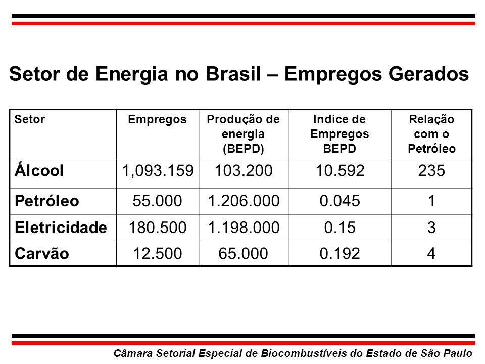 Investimento por Emprego Permanente no Brasil Câmara Setorial Especial de Biocombustíveis do Estado de São Paulo SetorUS$ por EmpregoRelação com o Proálcool Quimica e Petroquímica 220.000 20,1 Metalurgia 145.000 13,3 Bens de Capital 98.0009,0 Ind.