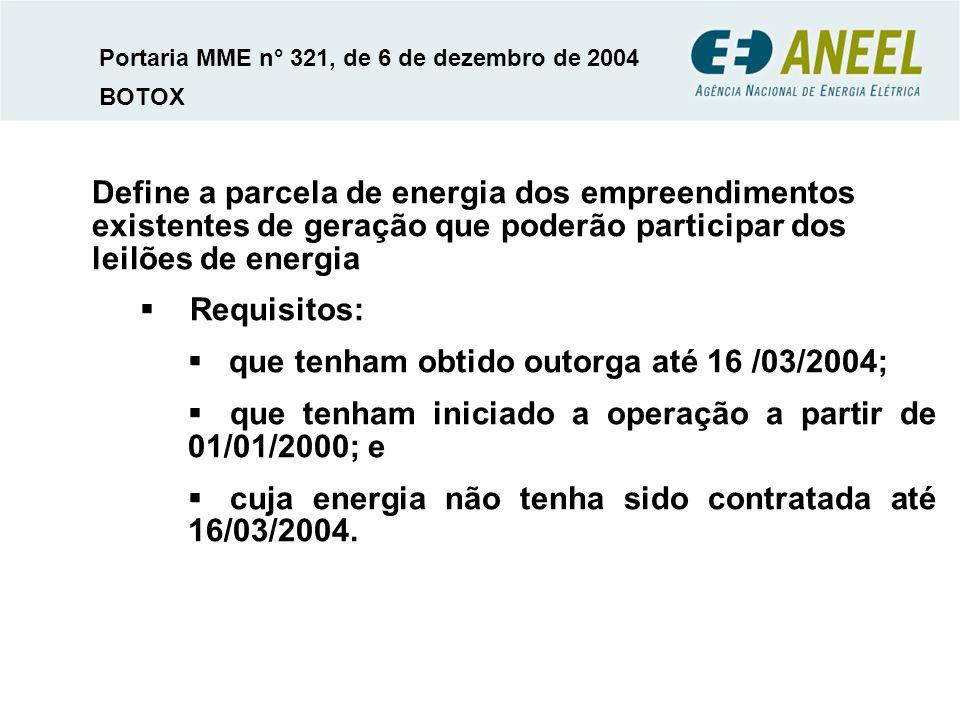 Define a parcela de energia dos empreendimentos existentes de geração que poderão participar dos leilões de energia Requisitos: que tenham obtido outorga até 16 /03/2004; que tenham iniciado a operação a partir de 01/01/2000; e cuja energia não tenha sido contratada até 16/03/2004.