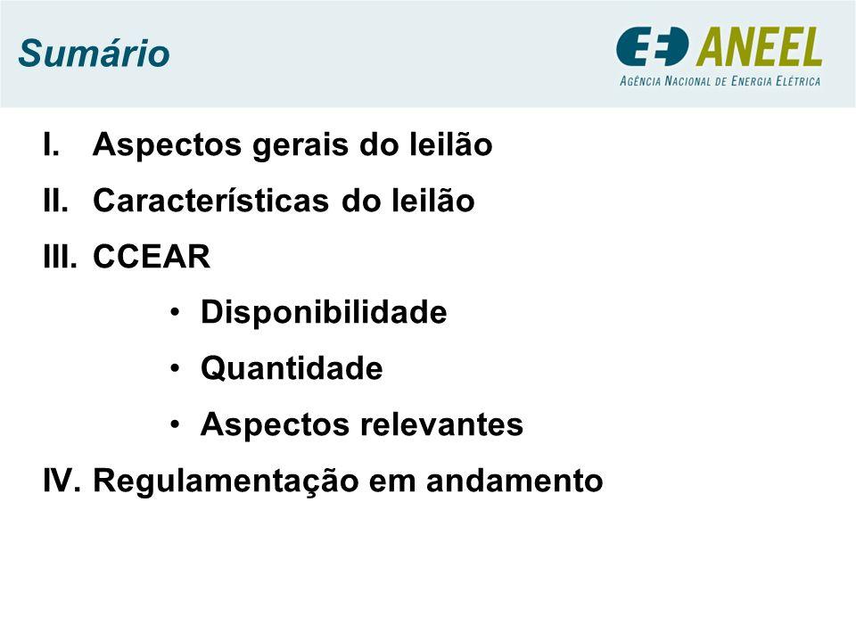 Sumário I.Aspectos gerais do leilão II.Características do leilão III.CCEAR Disponibilidade Quantidade Aspectos relevantes IV.Regulamentação em andamento
