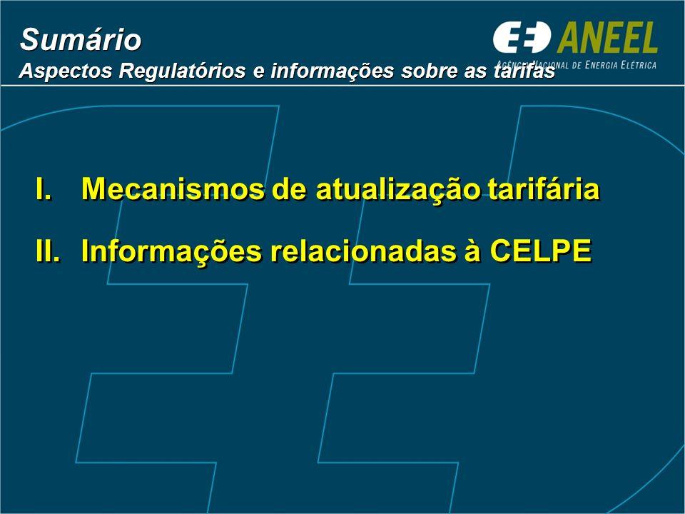 Sumário Aspectos Regulatórios e informações sobre as tarifas Sumário Aspectos Regulatórios e informações sobre as tarifas I.Mecanismos de atualização