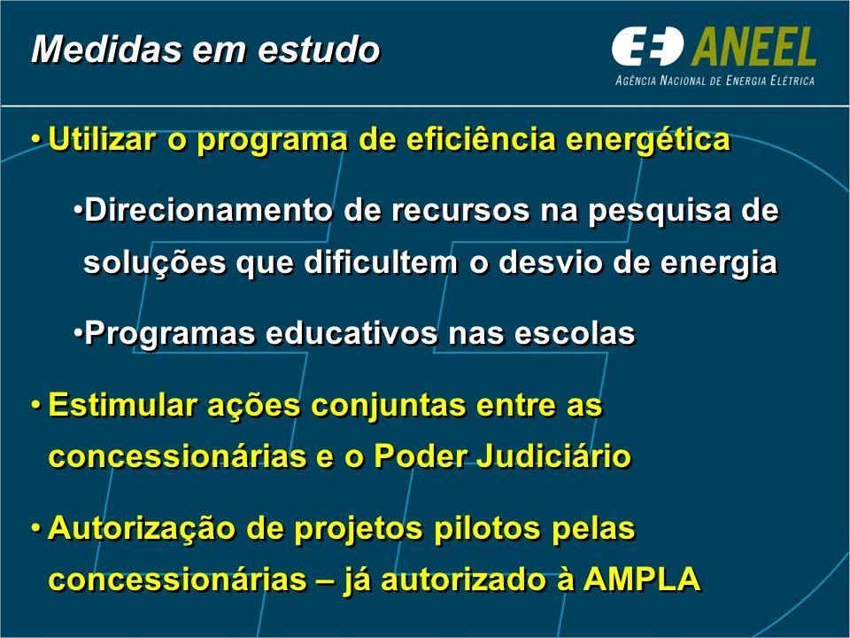 Utilizar o programa de eficiência energética Direcionamento de recursos na pesquisa de soluções que dificultem o desvio de energia Programas educativo