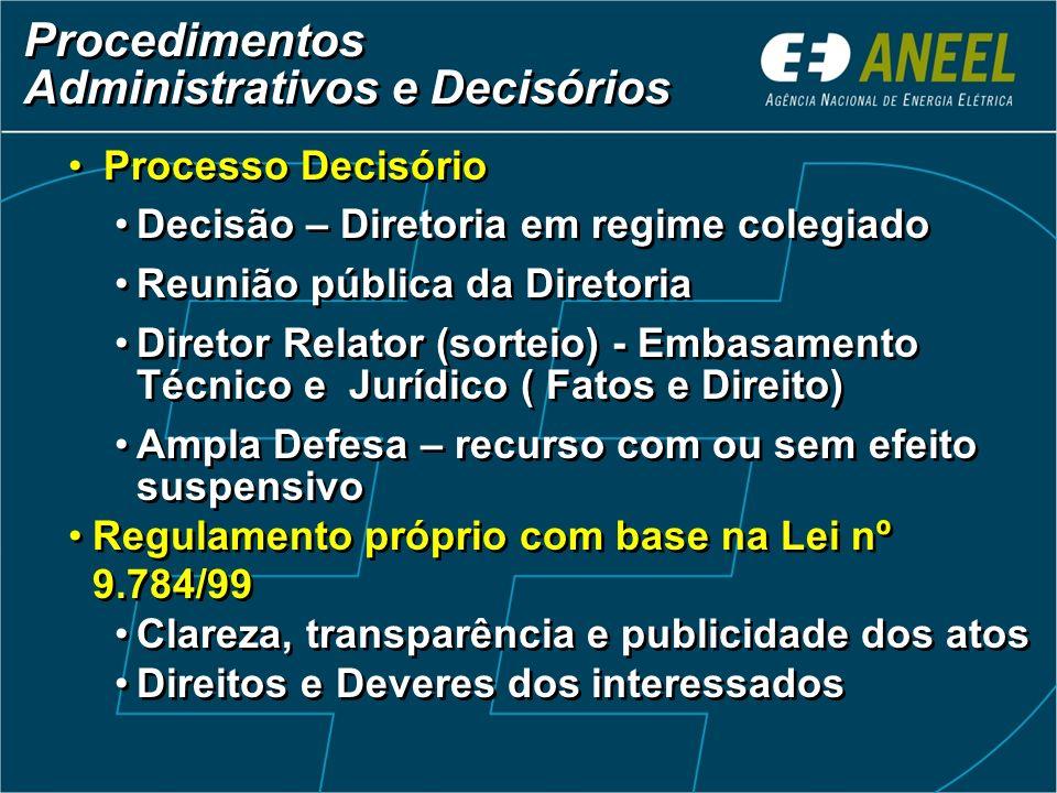 Procedimentos Administrativos e Decisórios Procedimentos Administrativos e Decisórios Processo Decisório Decisão – Diretoria em regime colegiado Reuni
