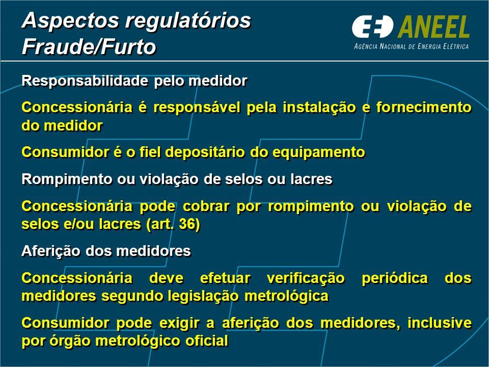 Responsabilidade pelo medidor Concessionária é responsável pela instalação e fornecimento do medidor Consumidor é o fiel depositário do equipamento Ro