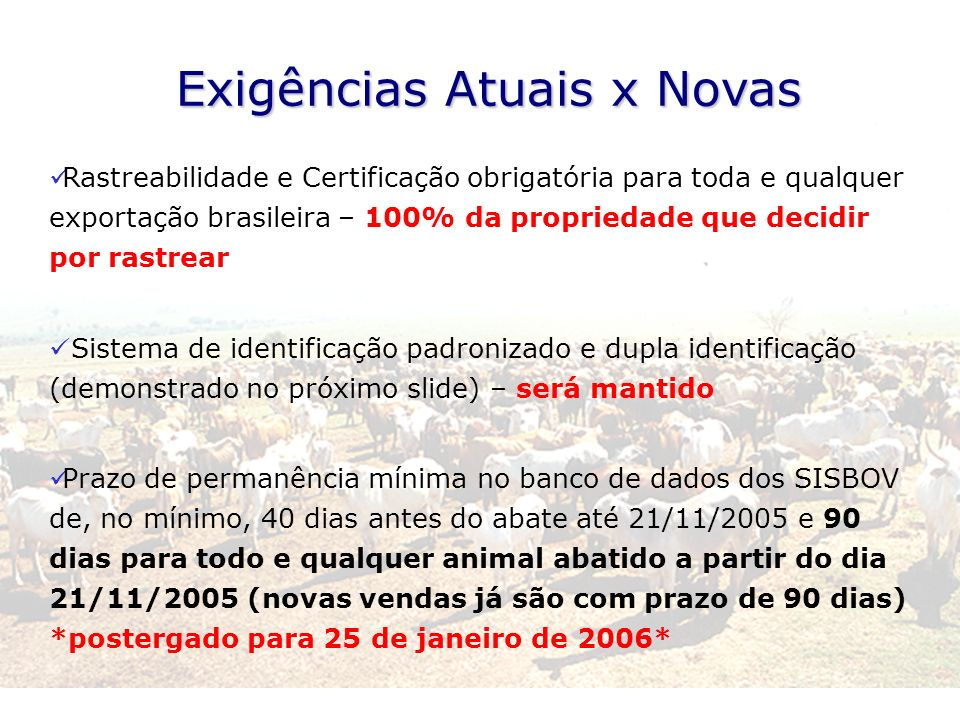 Exigências Atuais x Novas Rastreabilidade e Certificação obrigatória para toda e qualquer exportação brasileira – 100% da propriedade que decidir por