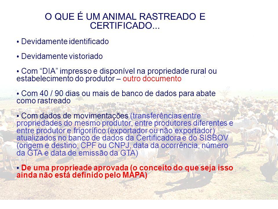 O QUE É UM ANIMAL RASTREADO E CERTIFICADO... Devidamente identificado Devidamente vistoriado Com DIA impresso e disponível na propriedade rural ou est