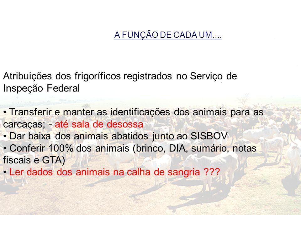A FUNÇÃO DE CADA UM.... Atribuições dos frigoríficos registrados no Serviço de Inspeção Federal Transferir e manter as identificações dos animais para