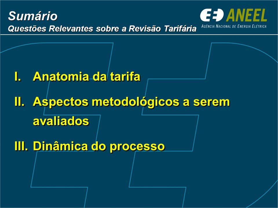 Sumário Questões Relevantes sobre a Revisão Tarifária Sumário Questões Relevantes sobre a Revisão Tarifária I.Anatomia da tarifa II.Aspectos metodológ