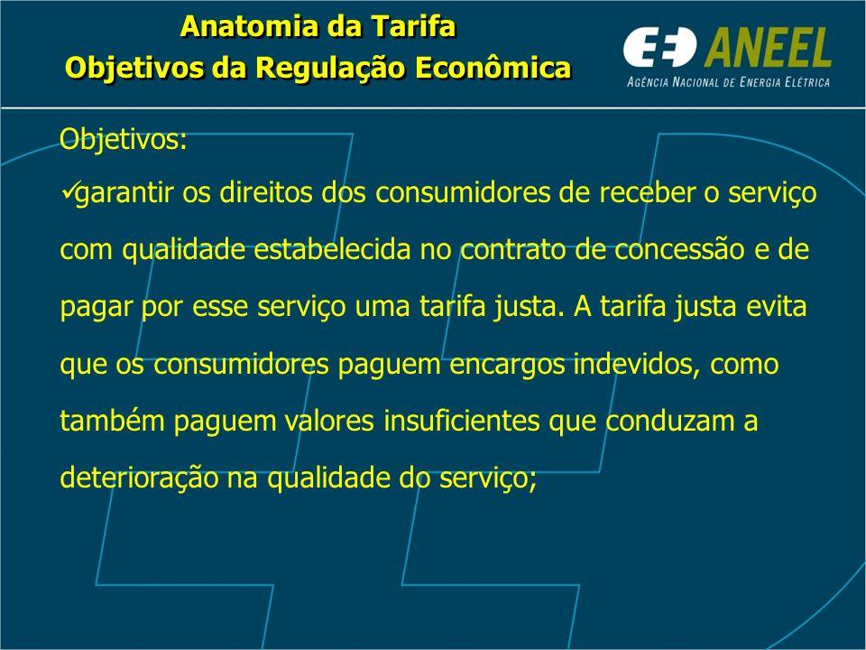 Anatomia da Tarifa Objetivos da Regulação Econômica Anatomia da Tarifa Objetivos da Regulação Econômica Objetivos: garantir os direitos dos consumidor