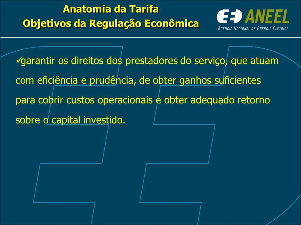 Anatomia da Tarifa Objetivos da Regulação Econômica Anatomia da Tarifa Objetivos da Regulação Econômica garantir os direitos dos prestadores do serviç