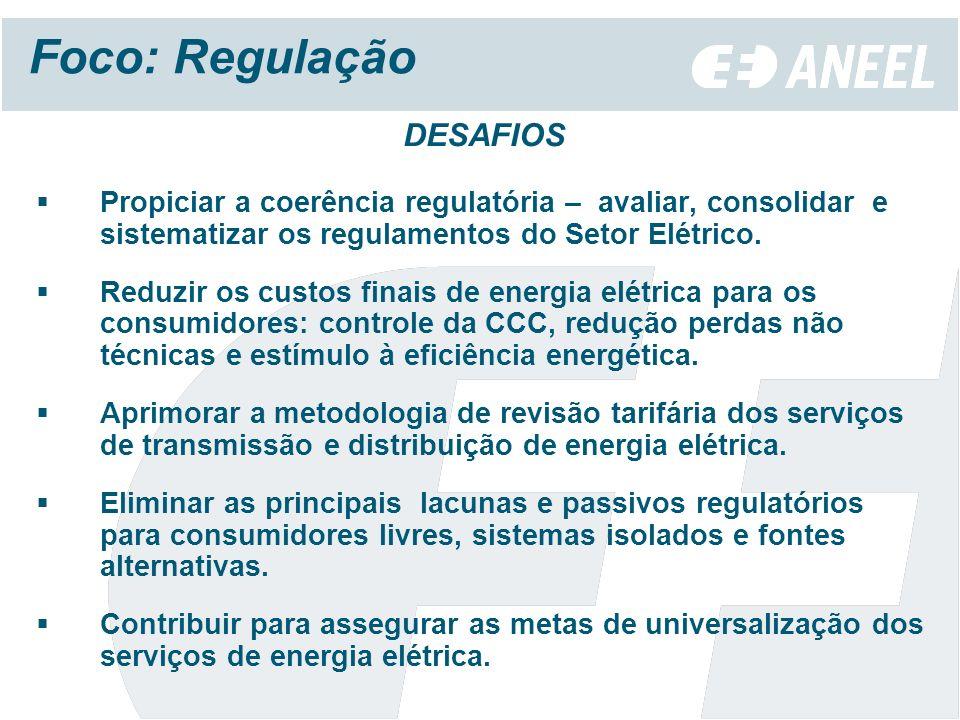 Foco: Regulação DESAFIOS Propiciar a coerência regulatória – avaliar, consolidar e sistematizar os regulamentos do Setor Elétrico.