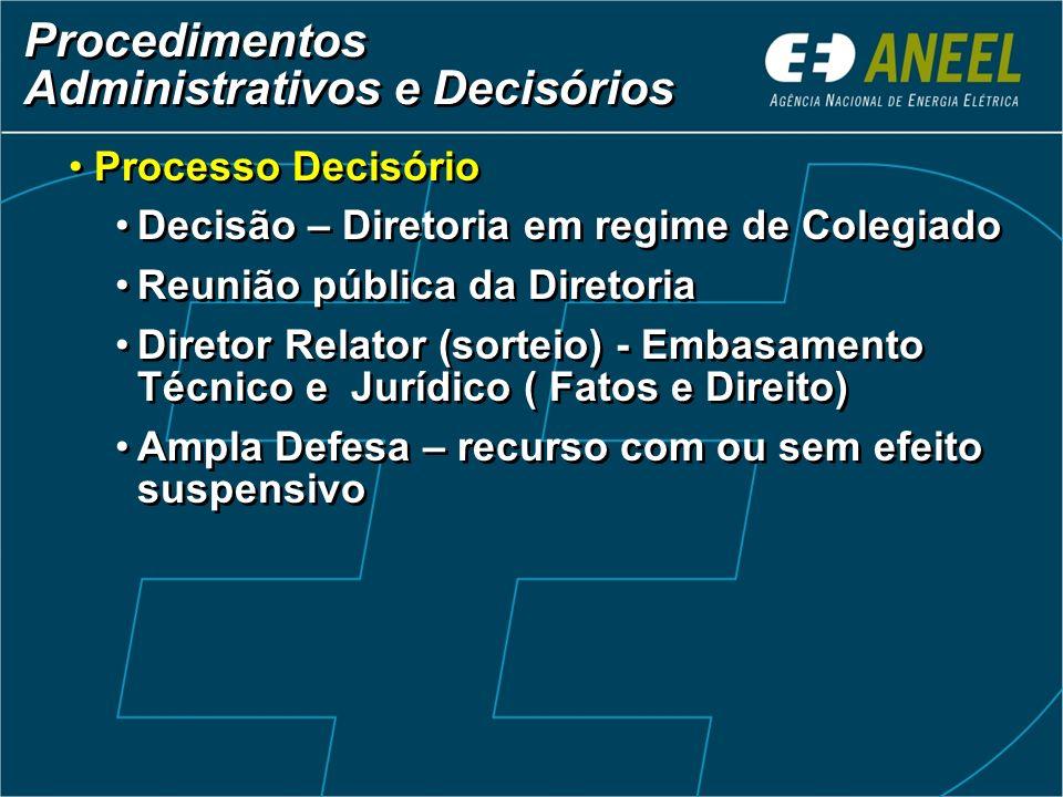 Procedimentos Administrativos e Decisórios Procedimentos Administrativos e Decisórios Processo Decisório Decisão – Diretoria em regime de Colegiado Re