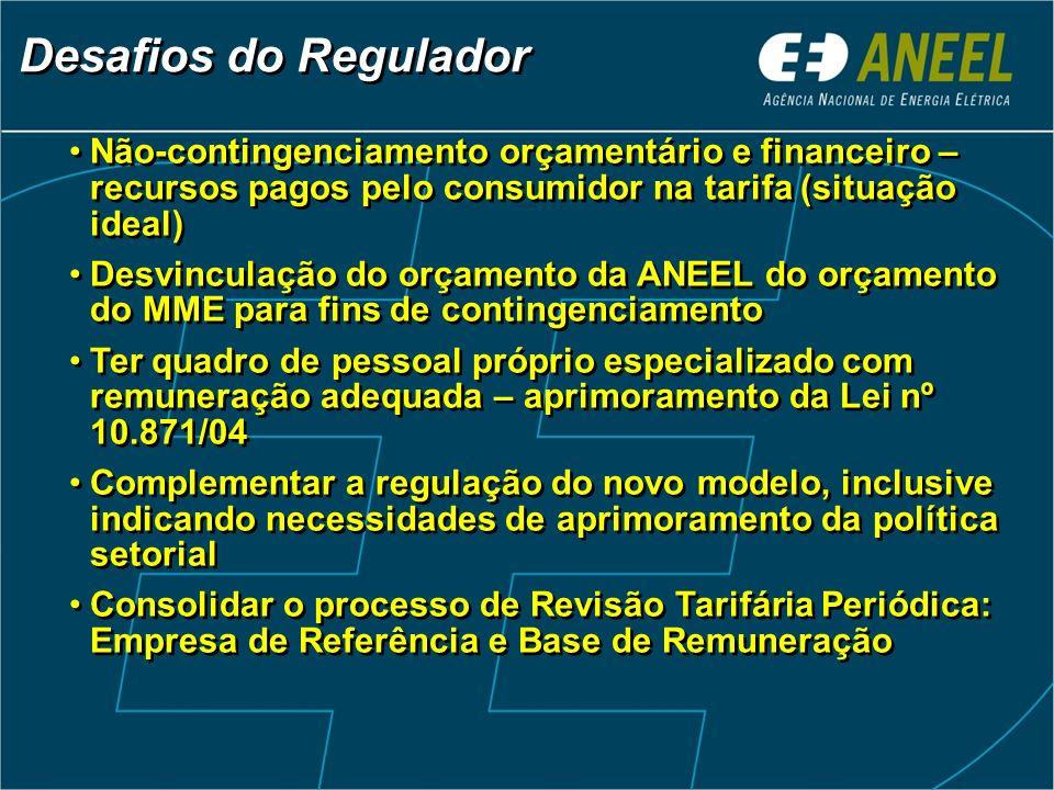 Desafios do Regulador Não-contingenciamento orçamentário e financeiro – recursos pagos pelo consumidor na tarifa (situação ideal) Desvinculação do orç