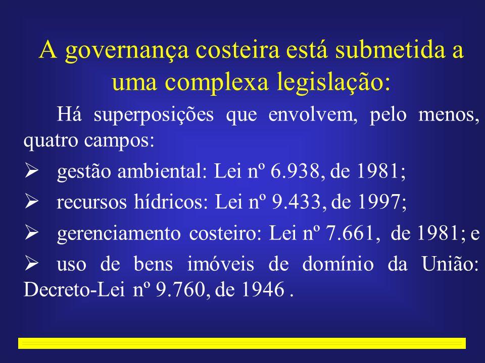 A governança costeira está submetida a uma complexa legislação: Há superposições que envolvem, pelo menos, quatro campos: gestão ambiental: Lei nº 6.938, de 1981; recursos hídricos: Lei nº 9.433, de 1997; gerenciamento costeiro: Lei nº 7.661, de 1981; e uso de bens imóveis de domínio da União: Decreto-Lei nº 9.760, de 1946.