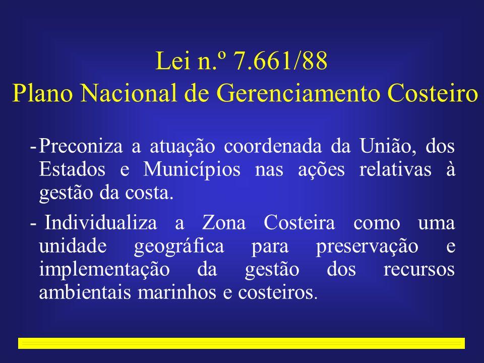Lei n.º 7.661/88 Plano Nacional de Gerenciamento Costeiro -Preconiza a atuação coordenada da União, dos Estados e Municípios nas ações relativas à gestão da costa.