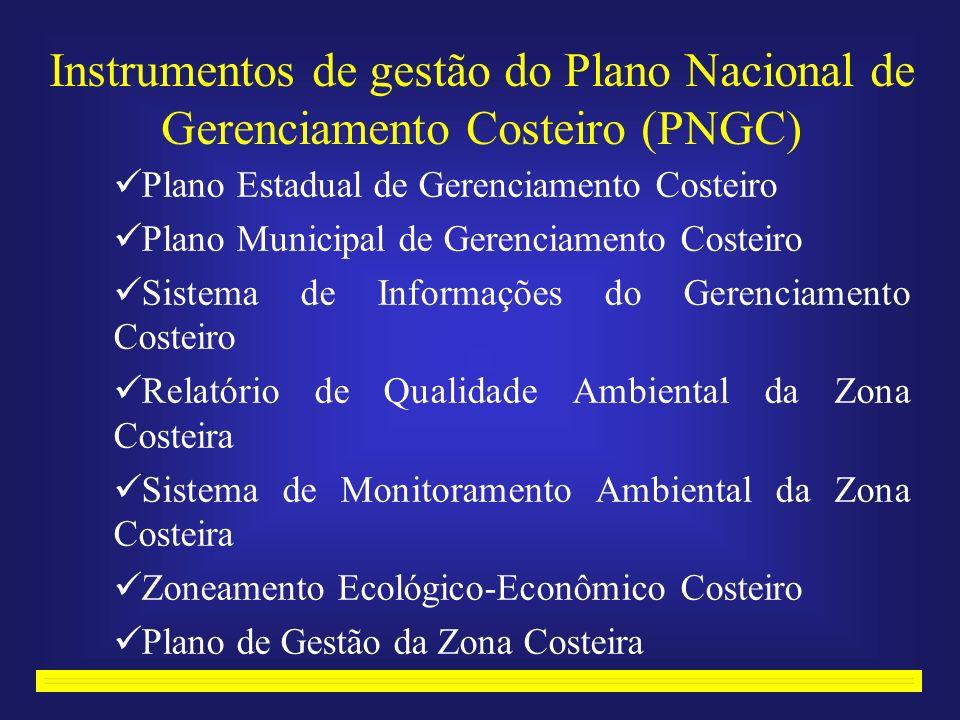 Instrumentos de gestão do Plano Nacional de Gerenciamento Costeiro (PNGC) Plano Estadual de Gerenciamento Costeiro Plano Municipal de Gerenciamento Costeiro Sistema de Informações do Gerenciamento Costeiro Relatório de Qualidade Ambiental da Zona Costeira Sistema de Monitoramento Ambiental da Zona Costeira Zoneamento Ecológico-Econômico Costeiro Plano de Gestão da Zona Costeira