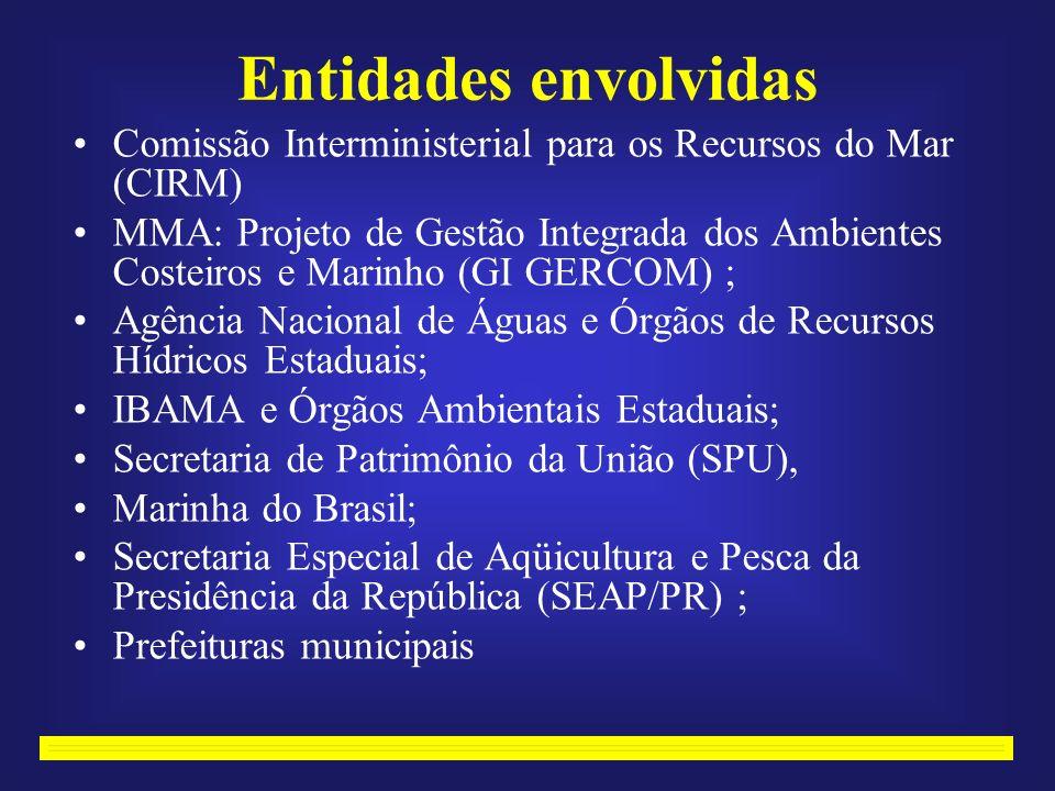 Entidades envolvidas Comissão Interministerial para os Recursos do Mar (CIRM) MMA: Projeto de Gestão Integrada dos Ambientes Costeiros e Marinho (GI GERCOM) ; Agência Nacional de Águas e Órgãos de Recursos Hídricos Estaduais; IBAMA e Órgãos Ambientais Estaduais; Secretaria de Patrimônio da União (SPU), Marinha do Brasil; Secretaria Especial de Aqüicultura e Pesca da Presidência da República (SEAP/PR) ; Prefeituras municipais