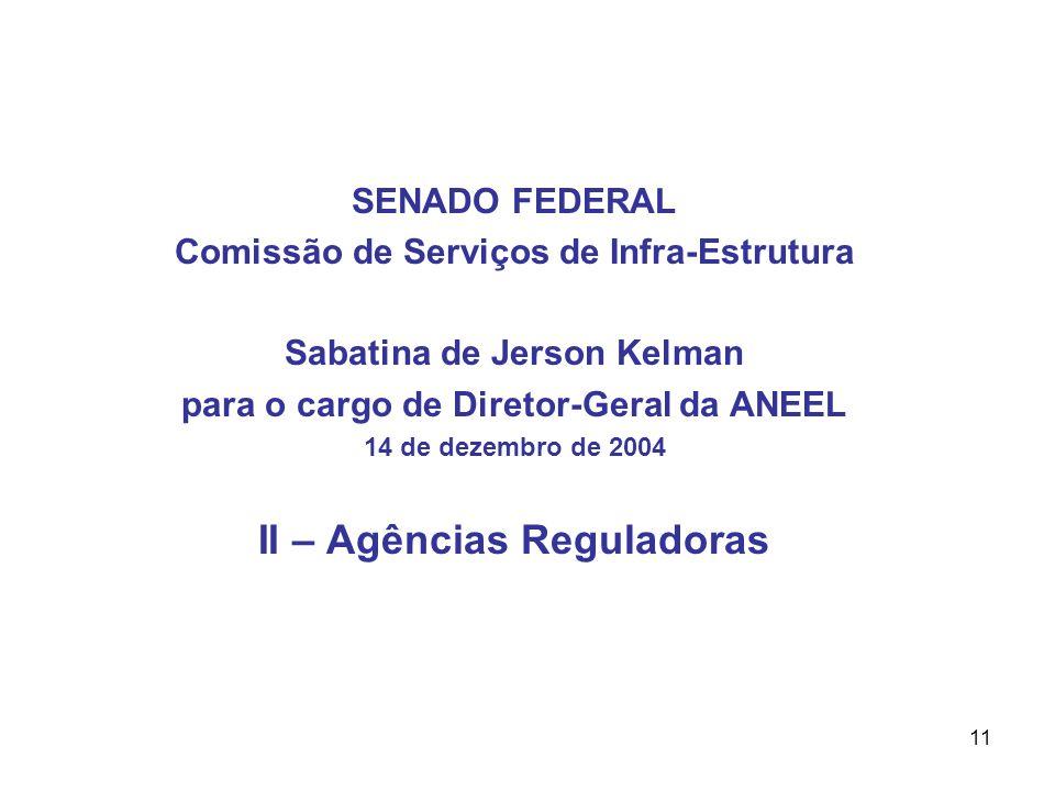11 SENADO FEDERAL Comissão de Serviços de Infra-Estrutura Sabatina de Jerson Kelman para o cargo de Diretor-Geral da ANEEL 14 de dezembro de 2004 II – Agências Reguladoras