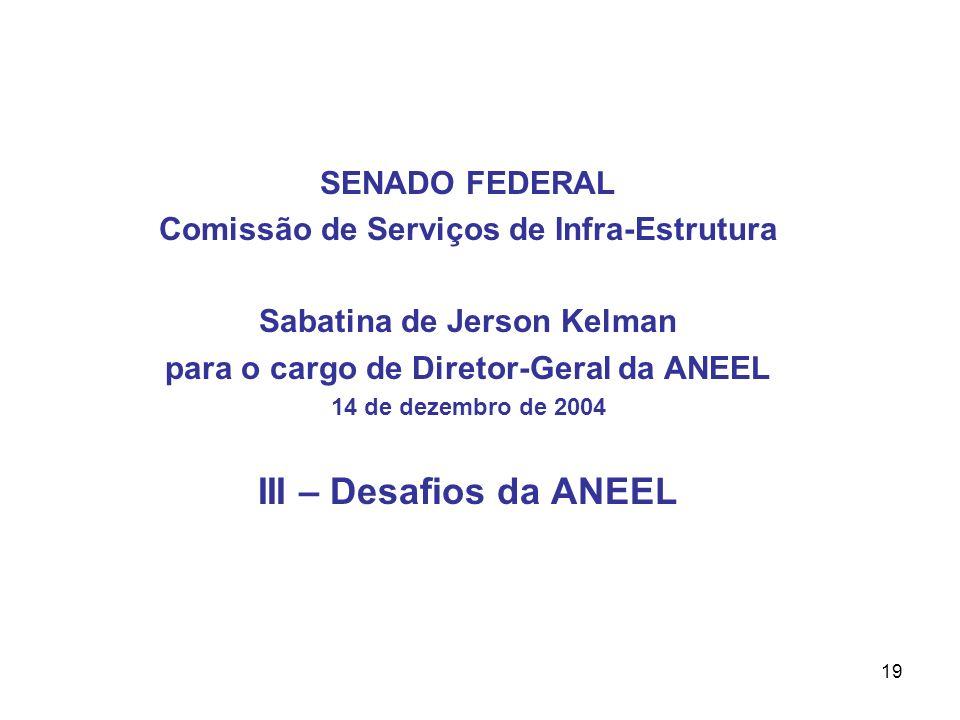 19 SENADO FEDERAL Comissão de Serviços de Infra-Estrutura Sabatina de Jerson Kelman para o cargo de Diretor-Geral da ANEEL 14 de dezembro de 2004 III – Desafios da ANEEL