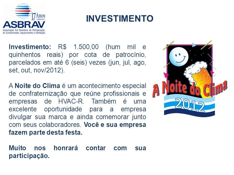 INVESTIMENTO Investimento: R$ 1.500,00 (hum mil e quinhentos reais) por cota de patrocínio, parcelados em até 6 (seis) vezes (jun, jul, ago, set, out, nov/2012).