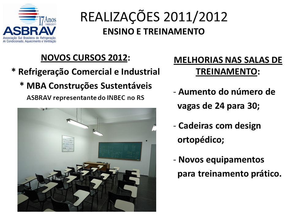 REALIZAÇÕES 2011/2012 ENSINO E TREINAMENTO MELHORIAS NAS SALAS DE TREINAMENTO: - Aumento do número de vagas de 24 para 30; - Cadeiras com design ortopédico; - Novos equipamentos para treinamento prático.