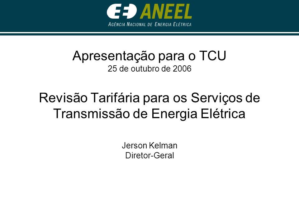 Apresentação para o TCU 25 de outubro de 2006 Revisão Tarifária para os Serviços de Transmissão de Energia Elétrica Jerson Kelman Diretor-Geral