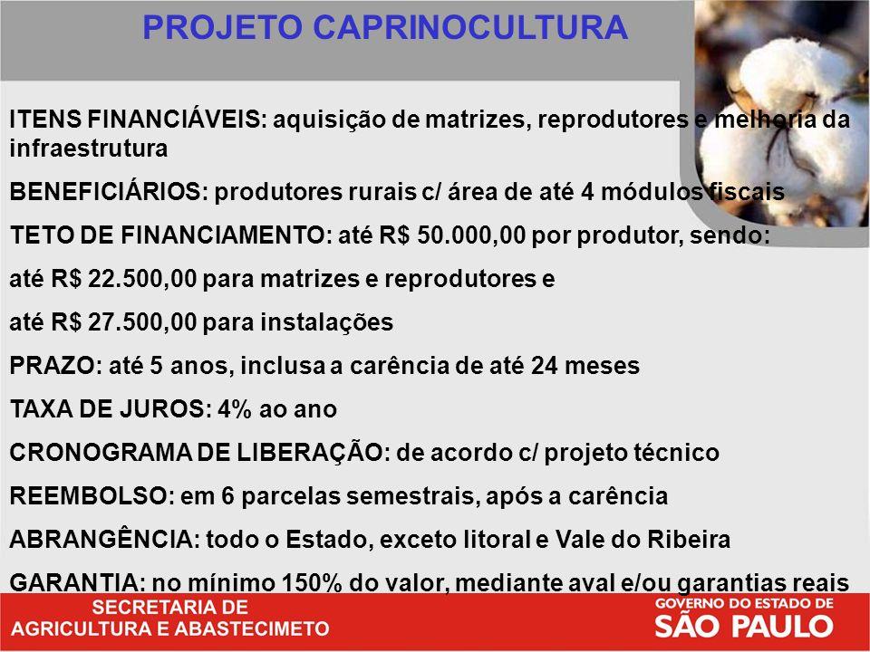 PROJETO CAPRINOCULTURA ITENS FINANCIÁVEIS: aquisição de matrizes, reprodutores e melhoria da infraestrutura BENEFICIÁRIOS: produtores rurais c/ área d