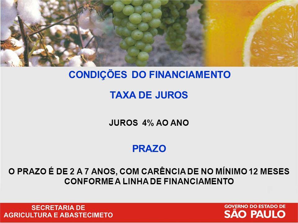 CONDIÇÕES DO FINANCIAMENTO TAXA DE JUROS JUROS 4% AO ANO PRAZO O PRAZO É DE 2 A 7 ANOS, COM CARÊNCIA DE NO MÍNIMO 12 MESES CONFORME A LINHA DE FINANCI