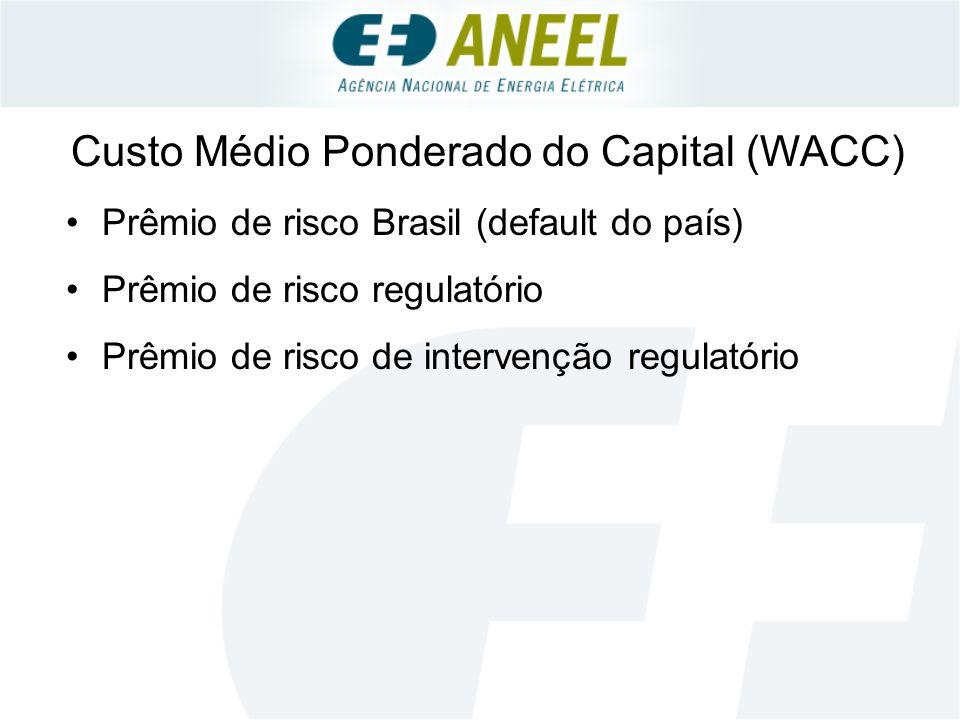 Custo Médio Ponderado do Capital (WACC) Prêmio de risco Brasil (default do país) Prêmio de risco regulatório Prêmio de risco de intervenção regulatório