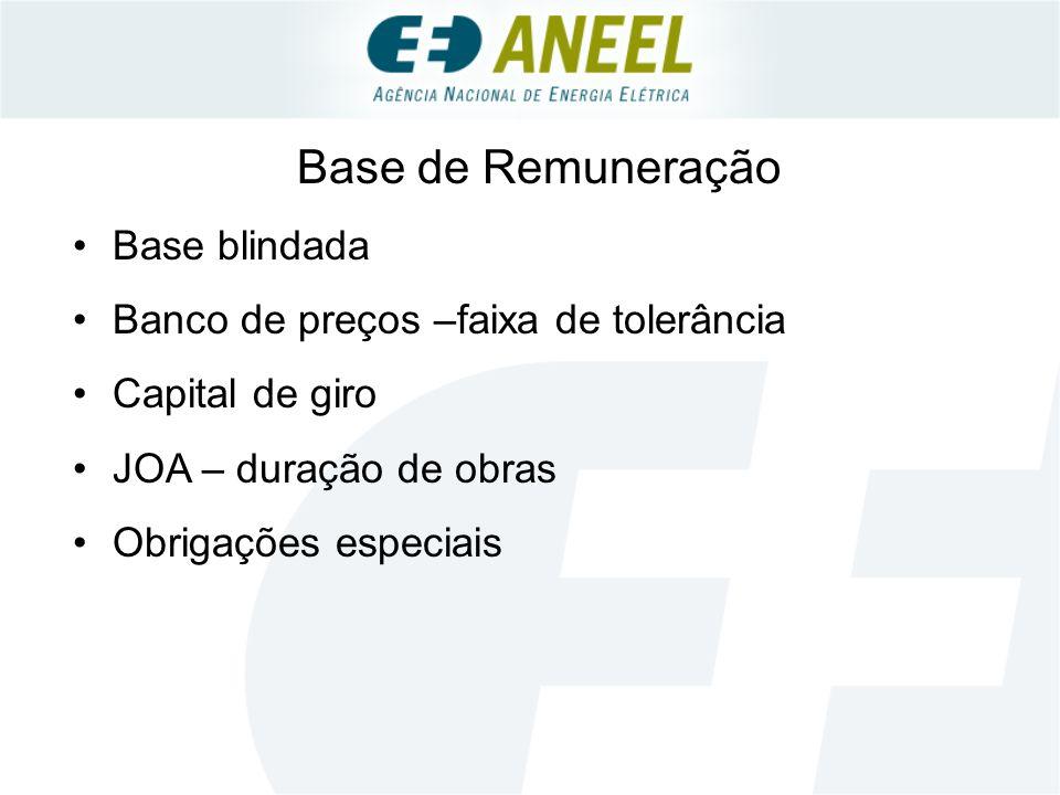 Base de Remuneração Base blindada Banco de preços –faixa de tolerância Capital de giro JOA – duração de obras Obrigações especiais