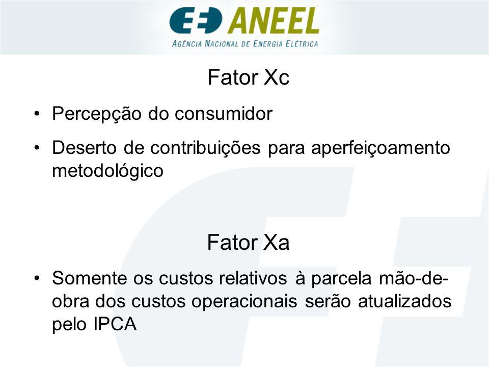Fator Xc Percepção do consumidor Deserto de contribuições para aperfeiçoamento metodológico Fator Xa Somente os custos relativos à parcela mão-de- obra dos custos operacionais serão atualizados pelo IPCA