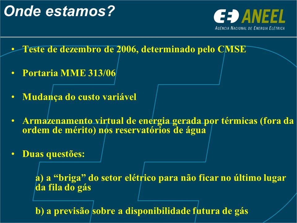 Teste de dezembro de 2006, determinado pelo CMSE Portaria MME 313/06 Mudança do custo variável Armazenamento virtual de energia gerada por térmicas (f