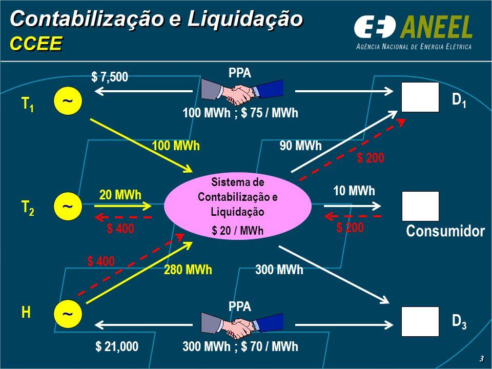 Contabilização e Liquidação CCEE Contabilização e Liquidação CCEE Sistema de Contabilização e Liquidação $ 20 / MWh ~ ~ ~ 100 MWh 20 MWh 280 MWh T1T1