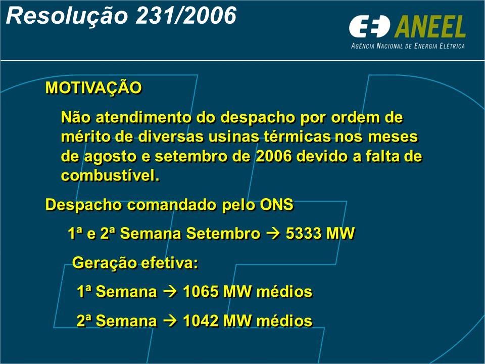 MOTIVAÇÃO Não atendimento do despacho por ordem de mérito de diversas usinas térmicas nos meses de agosto e setembro de 2006 devido a falta de combust