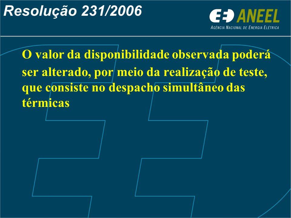 Resolução 231/2006 O valor da disponibilidade observada poderá ser alterado, por meio da realização de teste, que consiste no despacho simultâneo das